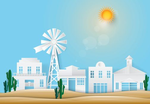 Windmill and Saguaro Cactus in Western town countryside. Paper art style, paper cut illustration