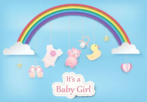 Paper art of rainbow with baby girl shower on blue sky paper cut style illustration