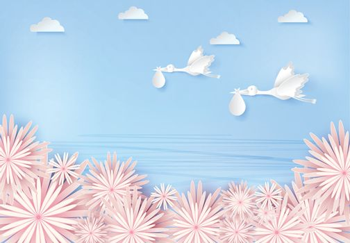 Paper art of stork flying with baby and flower, blue sky paper cut style illustration