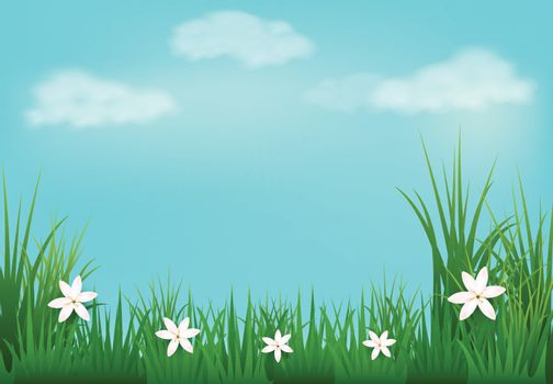 Paper art illustration of meadow with flowers paper cut style background