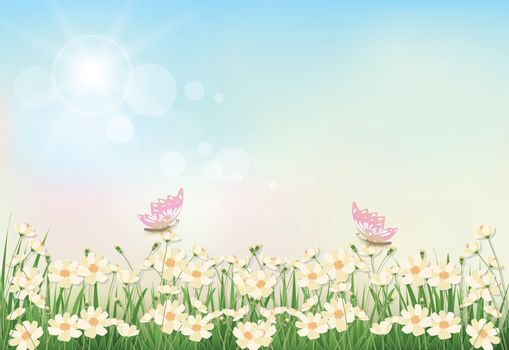 Cosmos flowers and butterfly spring season paper art, paper cut style background