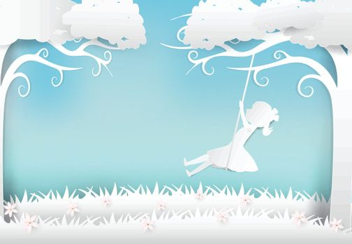 Girl sitting on swing under tree and flower paper art, paper craft style illustration background