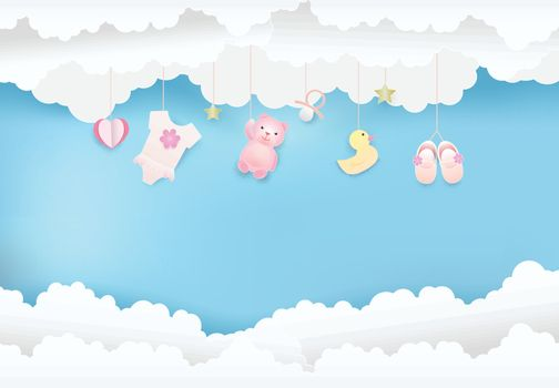 Paper art of cloud with toy shower on blue sky paper cut style, baby girl card illustration