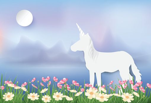Unicorn standing in Cosmos flowers field paper art, paper cut  illustration style fantasy background