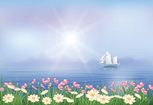 Ship and Cosmos flowers paper art, paper cut  illustration style fantasy background