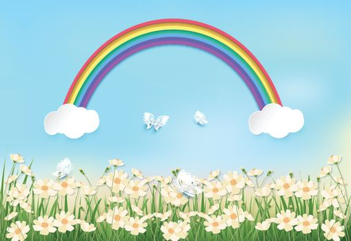 Cosmos flowers field and rainbow on blue sky background paper art, paper craft style illustration