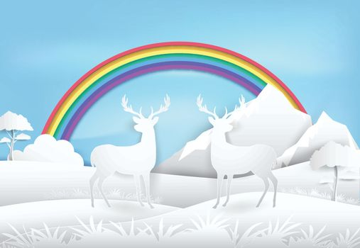 Deer standing in forest, rainbow and blue sky. Paper art, paper craft illustration Nature landscape background