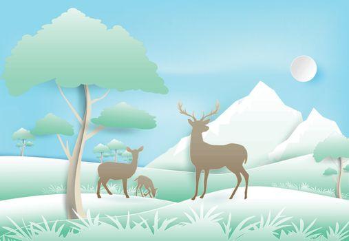 Deer's family standing in forest and blue sky. Paper art, paper craft illustration Nature landscape background