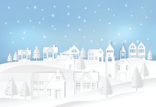 Winter holiday and snow in city town with blue sky background. Christmas season paper art style illustration.