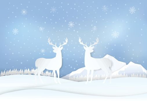 Deer in countryside and snowflake. Winter holiday, Christmas background paper art, paper cut, paper craft style illustration.