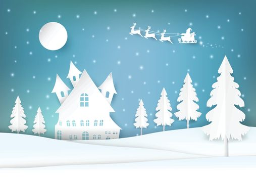 Winter holiday Santa and snowy Christmas season paper art, paper craft style illustration background