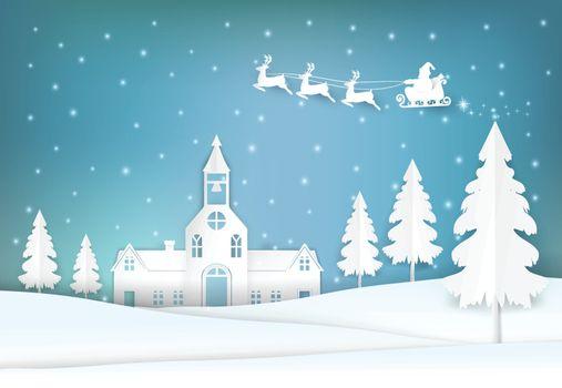 Winter holiday Santa and snowy Christmas season paper art, paper craft style illustration.