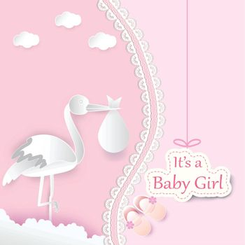 Paper art of stork with baby and cloud on pink background baby girl shower card paper cut style illustration