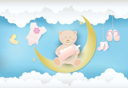 Paper art of cloud with toy shower and teddy bear sitting on the moon, sky background paper cut style, baby girl card illustration