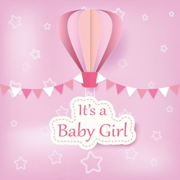 Paper art of hot air balloon with baby girl text shower card paper cut style illustration pink background