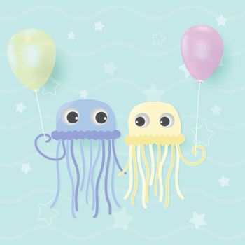 Jellyfish couple holding with balloon cute cartoon shower card, greeting card. Paper art marine style illustration