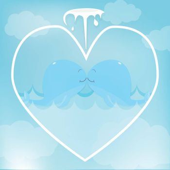 Greeting card cute cartoon Whale couple in heart for shower card, birthday card. Paper art style illustration