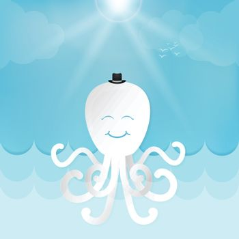 Octopus and sunny cute cartoon for shower card, greeting card. Paper art marine style illustration