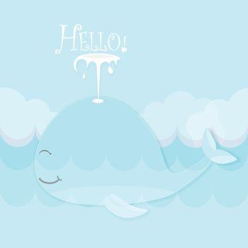 Greeting card cute cartoon Whale in ocean for shower card, birthday card. Paper art marine style illustration