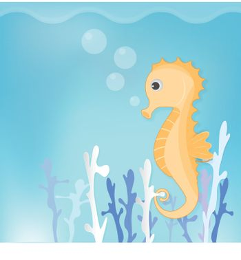 Seahorse and coral cute cartoon for shower card, greeting card. Paper art marine style illustration