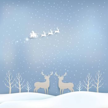 Santa and Deer with sleigh Christmas season background paper art style illustration, greeting card