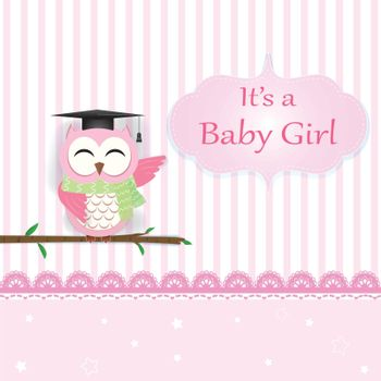 Baby girl shower card with Owl on pink. Greeting card paper art style illustration