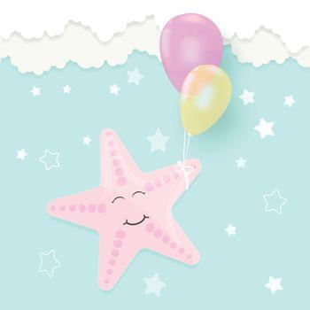 Greeting card cute cartoon Starfish and balloon for shower card, birthday card. Paper art marine style illustration