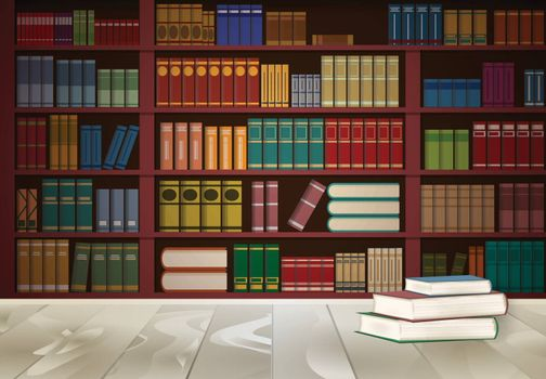 Bookshelf in library and book on wooden table, knowledge illustration