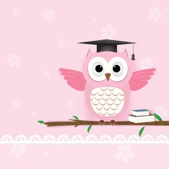 Owl on pink and flora for Greeting card, Baby shower card with paper art style illustration