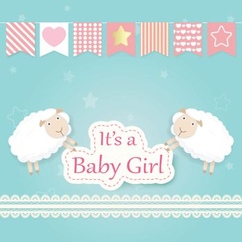 Baby girl shower card with Sheep and lace. Happy Birthday card paper art style illustration