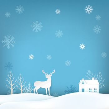 Deer and snowflake Christmas season background paper art style illustration, greeting card