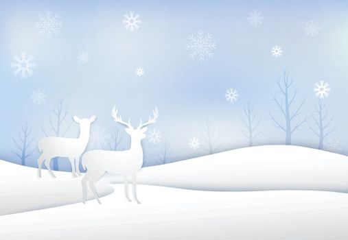 Paper art of Deer with snowflake and sky background  Christmas season winter holiday paper art style illustration.