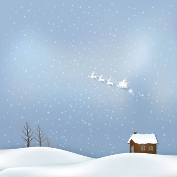 Cottage and Santa claus Christmas season background paper art style illustration.