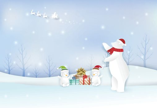 Santa with Polar Bear, penguin and gift boxes. Christmas season paper art style illustration background.