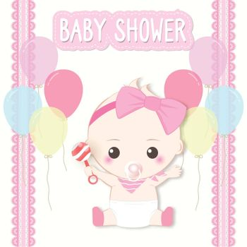 Baby shower card, baby girl and toy. Greeting card paper art style illustration