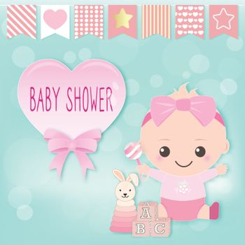 Baby girl shower card, baby girl and toy. Greeting card paper art style illustration