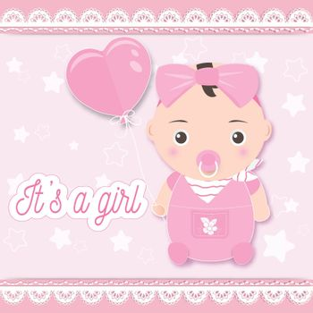 Baby girl shower card, baby girl holding balloon on pink. Greeting card paper art style illustration