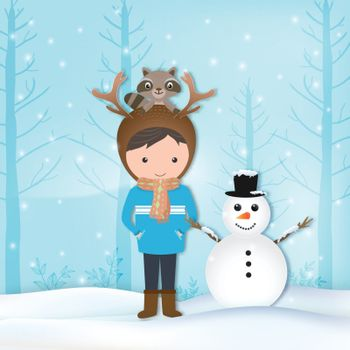 Paper art of Boy, raccoon and snowman Christmas illustration, winter holiday paper craft background.