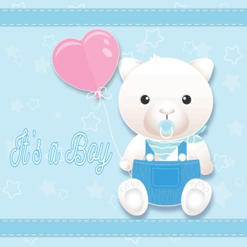 Baby boy shower card with teddy bear on blue. Greeting card paper art style illustration