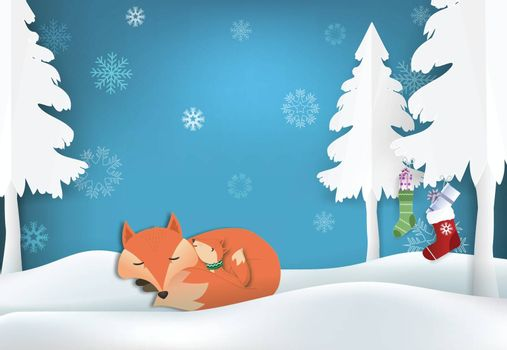 Paper art of Fox's family and snowflake illustration, Christmas season winter holiday paper craft background.