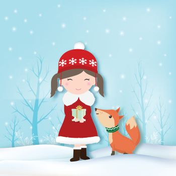 Paper art of Girl and Fox with snow illustration, Christmas season winter holiday paper craft background.