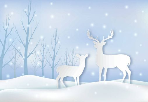 Paper art of Deers couple and snow illustration. Christmas season winter holiday paper craft  background.