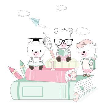 Cute teddy bear animal cartoon back to school illustration