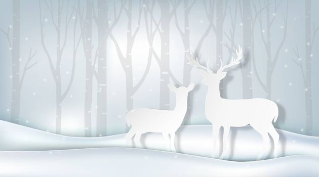 Paper art of couple deer and pine tree, winter background illustration