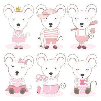 Cute Animals Cartoon Mouse Set Illustration