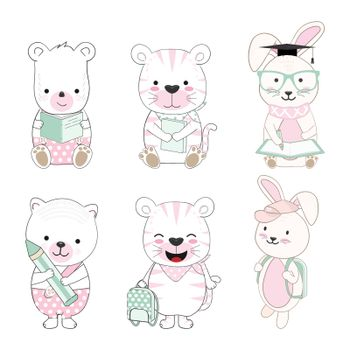 Cute baby animal cartoon back to school set illustration