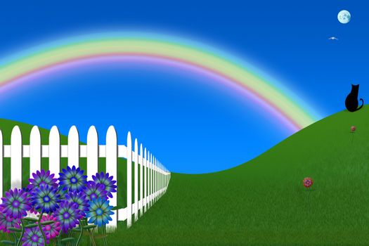 Peaceful backyard. White fence and rainbow. 3D rendering