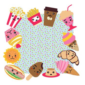 Background with fast food cute background. Coffee, burger, french fries, ice cream, hot dog, popcorn, cupcake Kawai and cute food illustration.