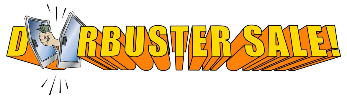Doorbuster Sale Copy Logo 3D on White Background