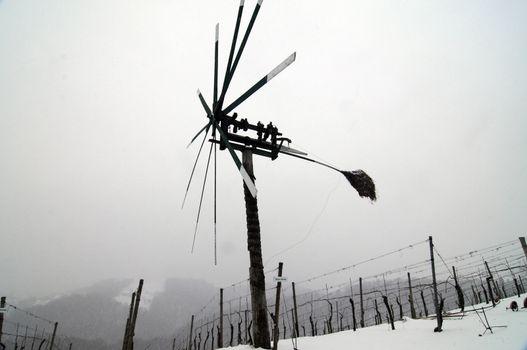 klopotec, a bird scarer in an austrian vineyard in winter